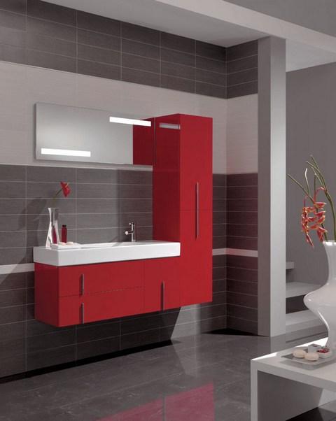 for Salle de bain rouge et blanche