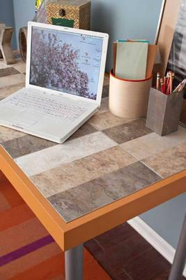Peel and stick vinyl tile backsplash