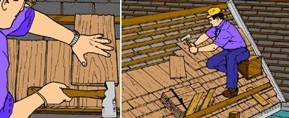 деревянная черепица монтаж