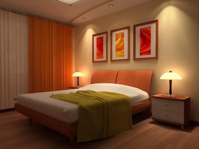 яркая минималистская спальня