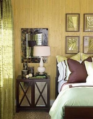 бамбуковые обои в спальне в тропическом стиле