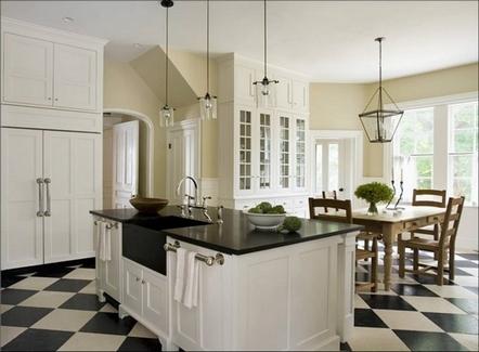 шахматная плитка в кухне