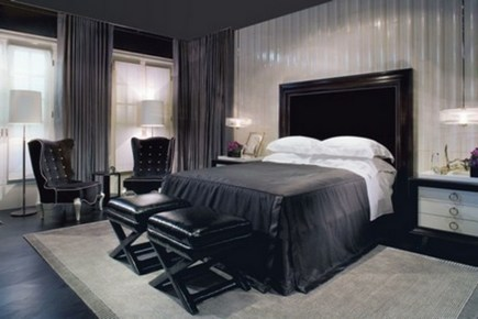 черно-белое сочетание в спальне