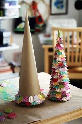 елка из бумаги и ткани