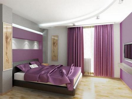 лиловый цвет в интерьере спальни