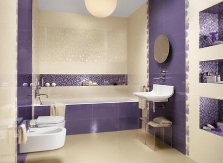 фиолетовый цвет в ванной