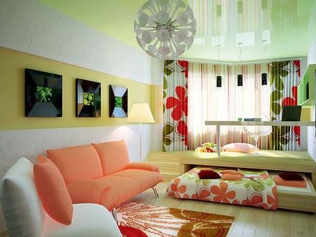 спальня гостиная с подиумом и выкатной кроватью