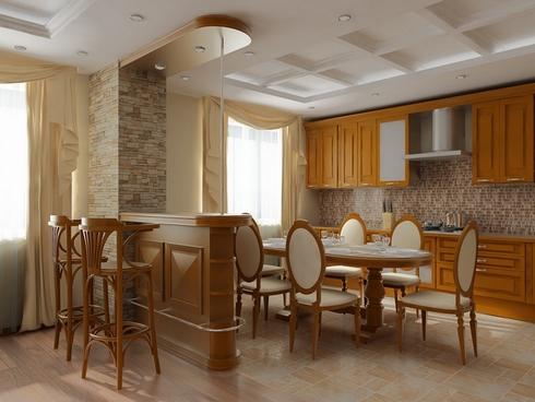 Барные стойки с кухней в интерьере фото