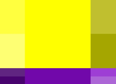 сочетание желтого и фиолетового