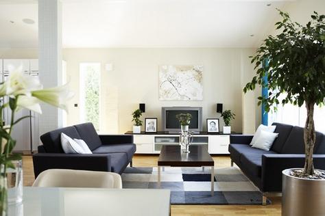 черный диван в интерьере в современном стиле