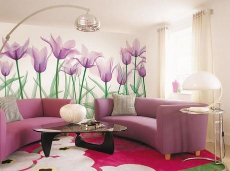 цветочные фотообои в гостиной