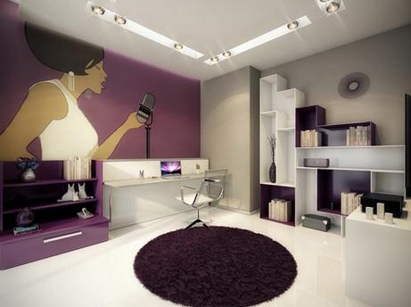 сочетание серого с пурпурным в интерьере