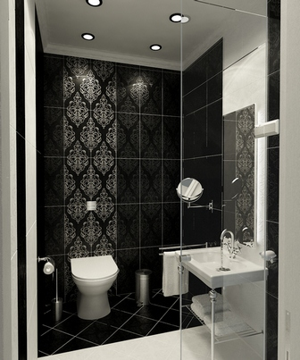 черная плитка в ванной и туалете