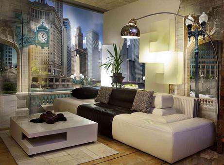 фотообои в гостиной в стиле хай-тек