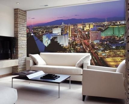 фотообои с изображением города в гостиной