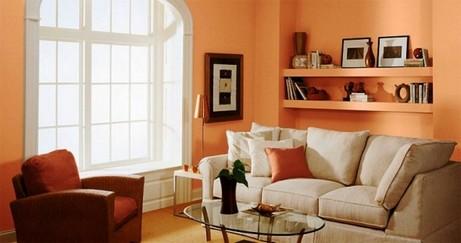 оранжево-персиковые стены