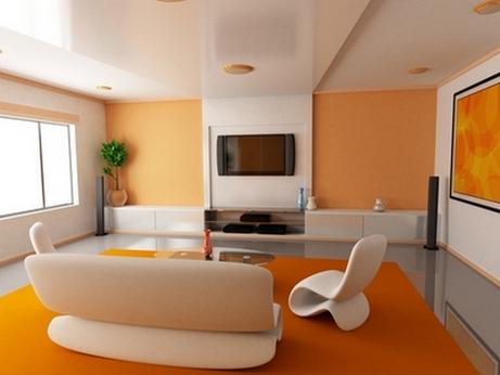 персиковые стены в интерьере в стиле минимализм
