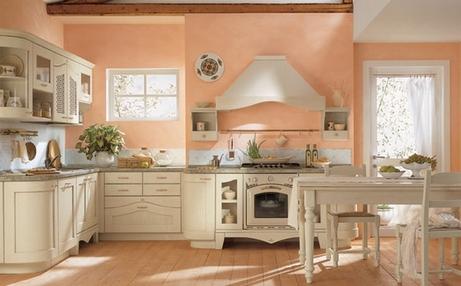 интерьер кухни в персиковом цвете
