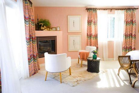 Персиковые стены в интерьере фото