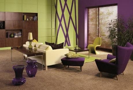 зелено-фиолетовая комната