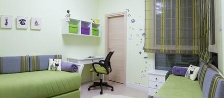 зелено-фиолетовый интерьер детской
