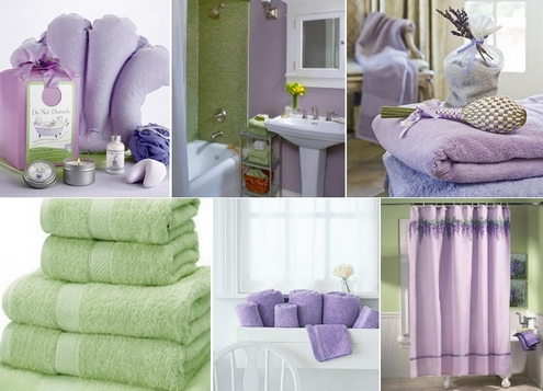 фиолетово-зеленая ванная
