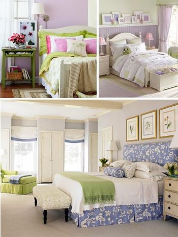 сочетание фиолетового и зеленого в спальнях в стиле прованс
