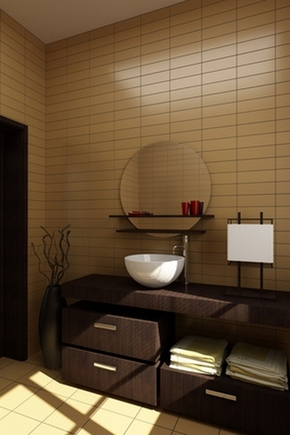напольная ваза в ванной комнате