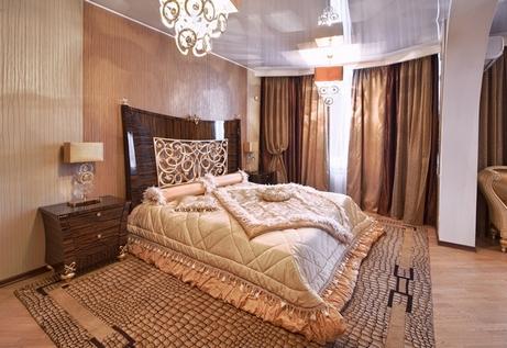спальня бежевая и коричневая