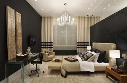 черно-бежевая спальня