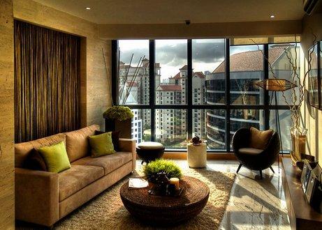природный интерьер гостиной