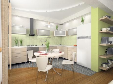интерьер кухни в свежих зеленых тонах