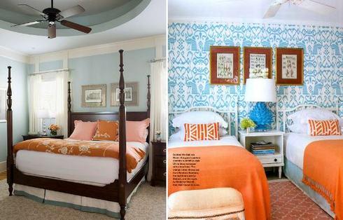 голубая спальня с оранжевыми акцентами