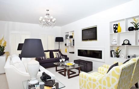 черно-белая гостиная с желтыми акцентами