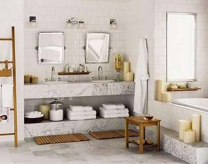 декор ванной в белом цвете