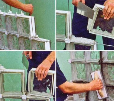 монтаж стеклоблоков на цемент
