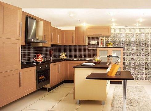 стеклоблочная стена в кухне