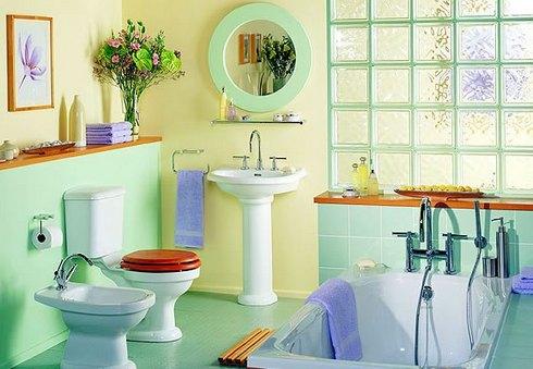 стеклянные блоки в ванной