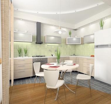комбинирование плитки и ламината в кухне-столовой