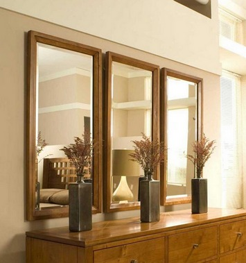 комбинирование зеркал для декора стен