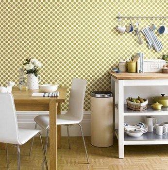 ретро кухня: стены в горошек