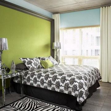 спальня зелено-голубая