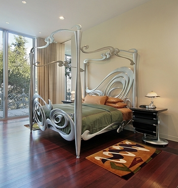 спальня с элементами стиля модерн