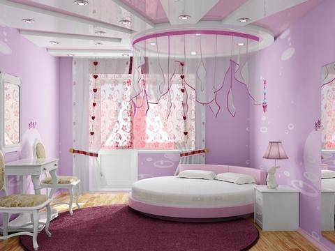 детская комната в розовых и сиреневых тонах