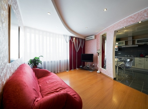 розовая гостиная в современном стиле