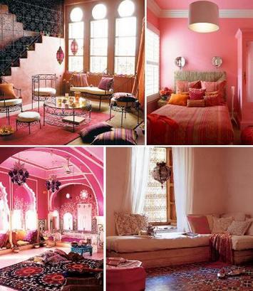 розовый цвет в этнических интерьерах