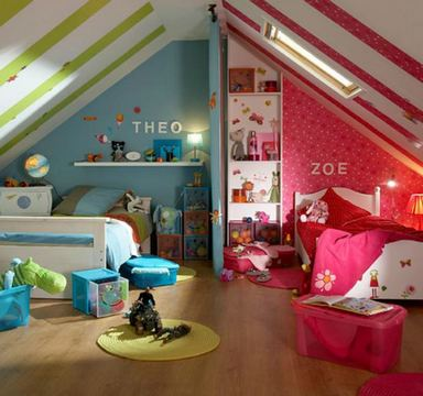 полосатый потолок в детской