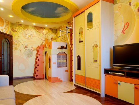 потолочная конструкция в детской комнате