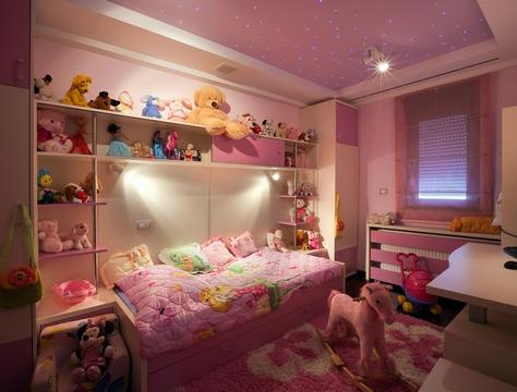 дизайн потолка для комнаты девочки
