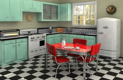 ретро кухня мятного цвета